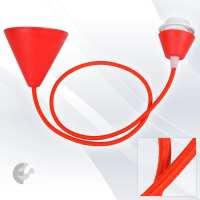 Пендел Cone PVC с ринг фасунга текстилен кабел червен От Coup Light.com