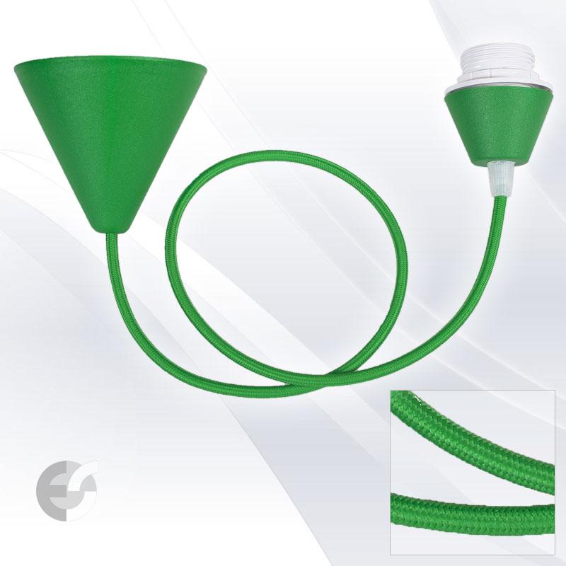 Пендел Cone PVC тревисто зелен текстилен кабел Е27(07150102GR)